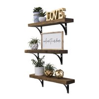 Industrial Grace Simple Urban Bracket Shelves, Set of 3, 24-Inch