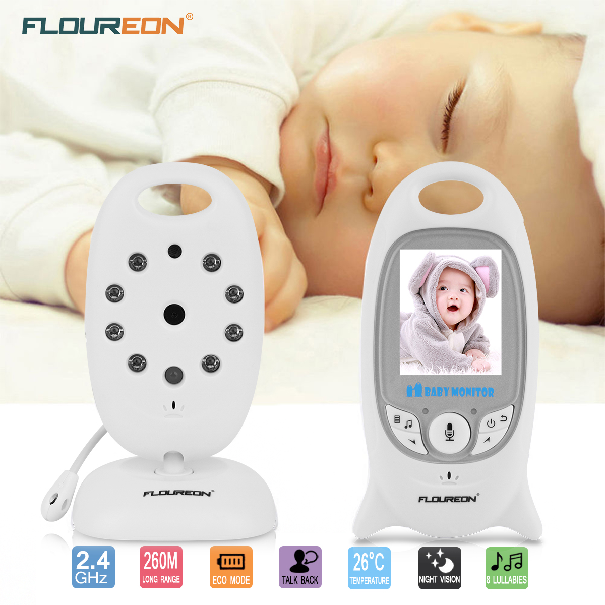 Baby Monitor, Video Baby Monitor with Camera- Wireles Video Monitor for Baby Safety- with Infrared Night... by FLOUREON