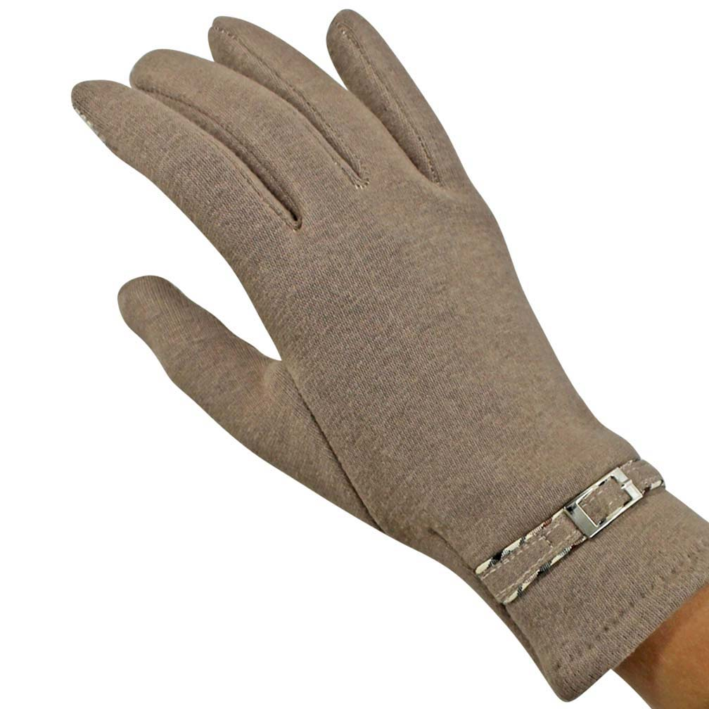 Luxury Divas Faux Fur Lined Texting Gloves With Buckle Trim