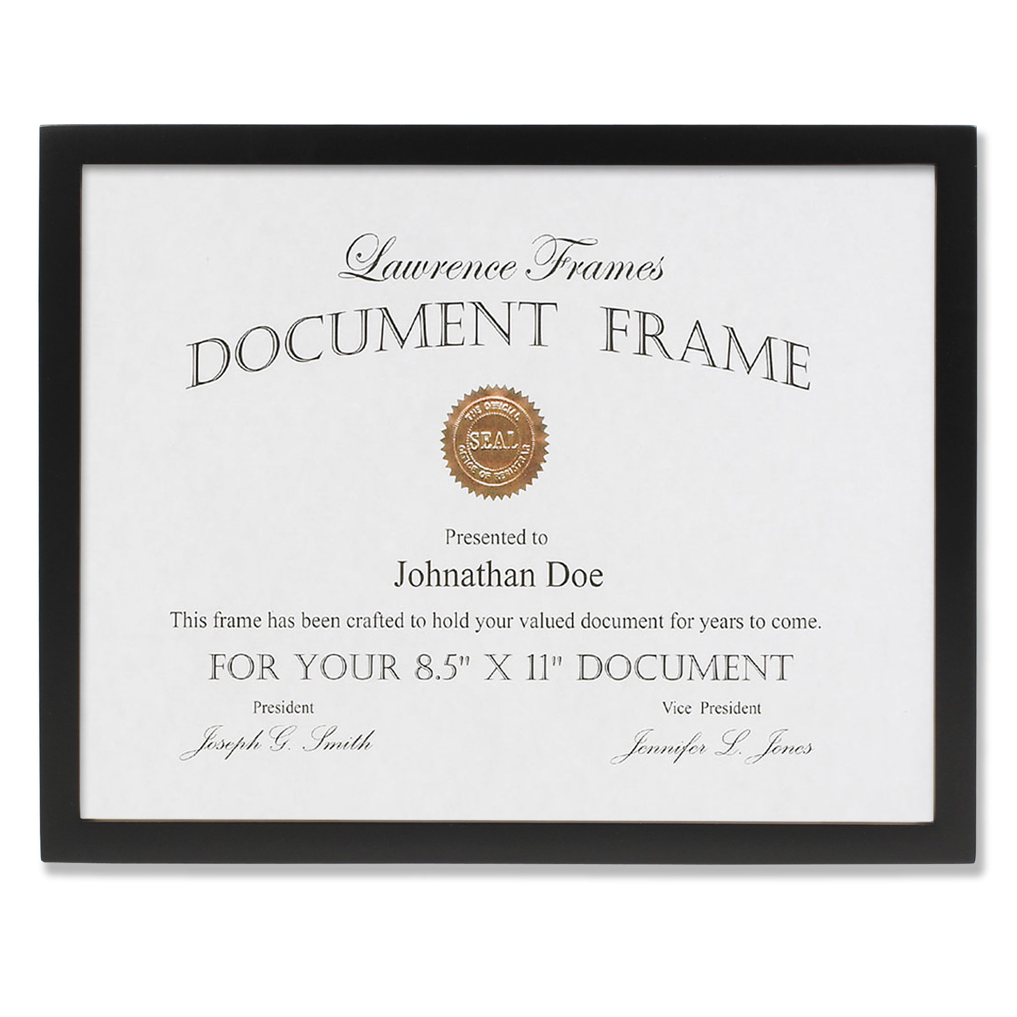 Click here to buy 8.5x11 Black Wood Certificate Picture Frame Gallery Collection by Lawrence Frames.