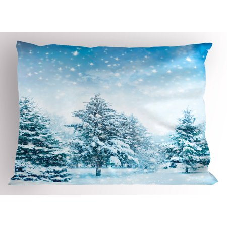 Winter Pillow Sham Snow Covered Fir Trees on Mountainside Blizzard Arctic Woodland Tranquil Outdooors, Decorative Standard Queen Size Printed Pillowcase, 30 X 20 Inches, Blue White, by (Best Dairy Queen Blizzard Combination)