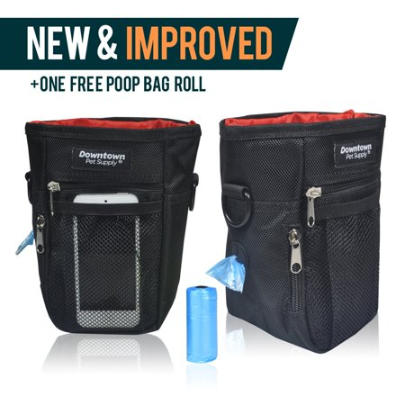 Snap Closure Dog Treat Training Pouch Bag Built In Dispenser Includes Roll With 20 Waste Bags