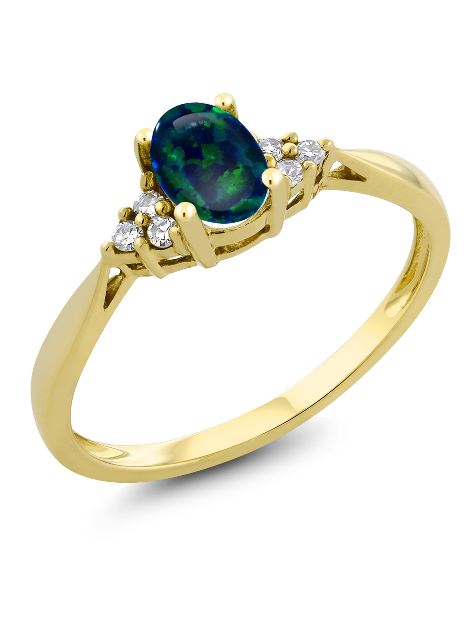0.50 Ct Oval Cabochon Green Simulated Opal and Diamond 14K Yellow Gold Ring by