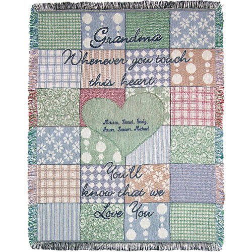 "Personalized Grandma's Touch 46"" x 60"" Throw, Green"