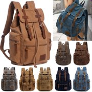 32L Canvas Leather Backpack Men/Women's Rucksack School Satchel Travel Backpack Hiking Bag
