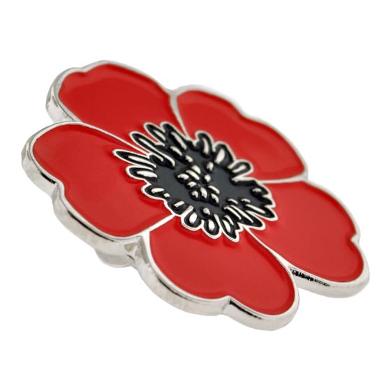 PinMart's Red and Black Poppy Flower Remembrance Memorial Day Enamel Lapel  Pin