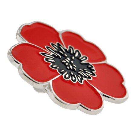 Pinmart Red And Black Poppy Flower Remembrance Memorial Day