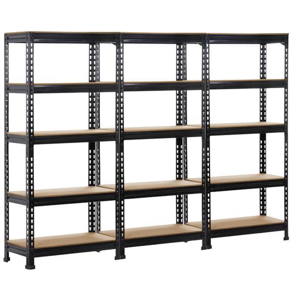 "3PCS 5-Tier Black Boltless Storage Shelves Rivet Rack 330LB Capacity ,59""Heightx 28""Width x 12"" Depth(3 Pack)"