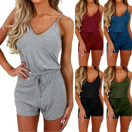 Women Fashion Spaghetti Strap Jumpsuits Rompers Summer Casual Slim Fit Drawstring Waist One Piece (Blue Plaid Romper)
