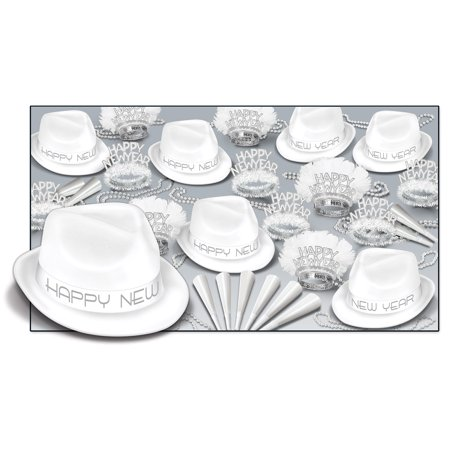 Club Pack of 50 White New Year Party Themed Hats with Feathered and Fringed Tiaras 33
