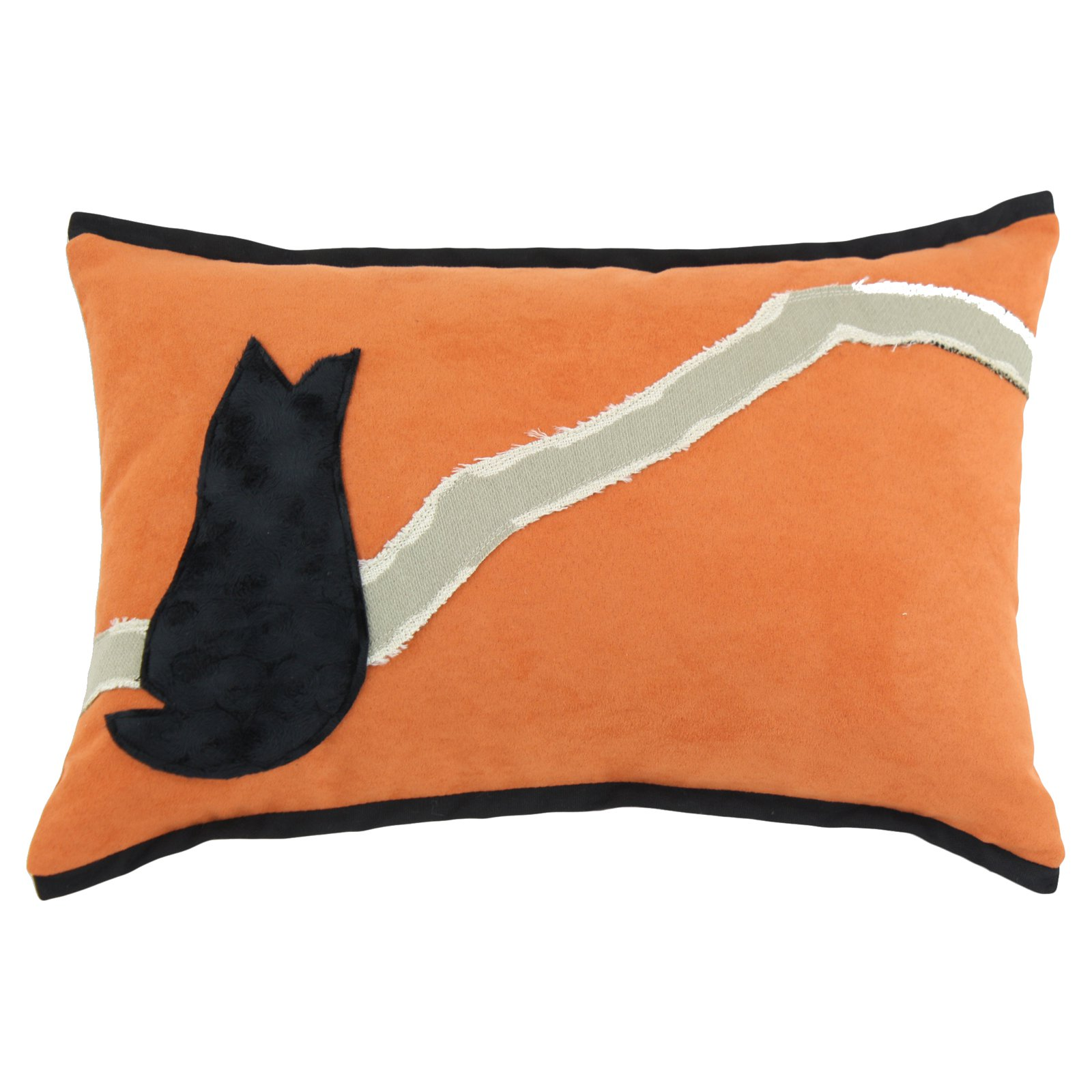 Brite Ideas Living Slam Dunk Tangerine with Black Vortex Cat Throw Pillow