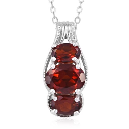 Chain Pendant Necklace 925 Sterling Silver Oval Red Citrine Gift Jewelry for Women Size 20