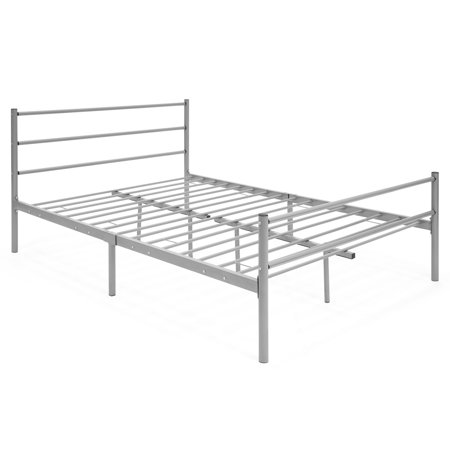 Best Choice Products Metal Full Size Bed Frame Platform with Headboard and Center Support Legs, Silver ()