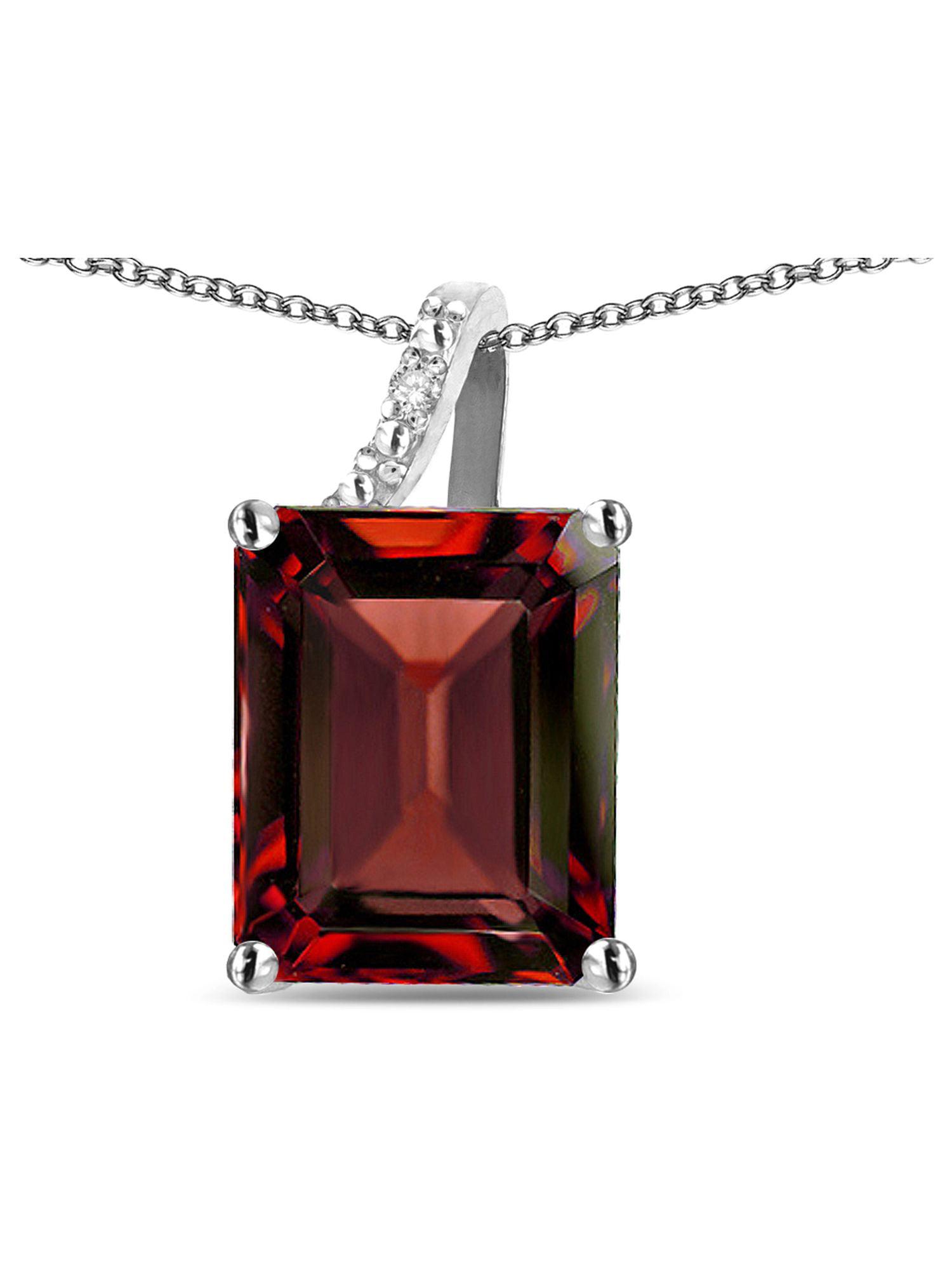 Star K Large 10x8 Octagon Emerald Cut Genuine Garnet Pendant Necklace by Star K