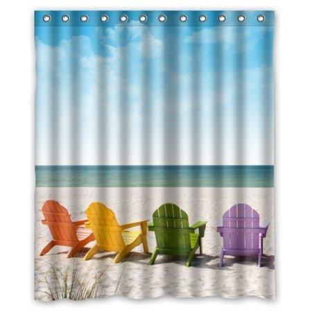 GreenDecor Hawaii Summer Beach Scenery With Chairs Chair Waterproof Shower Curtain Set Hooks Bathroom
