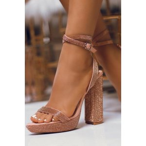 Cape Robbin Gianna Rose Gold Sparkling Rhinestone Wrap Ankle Platform Sandals