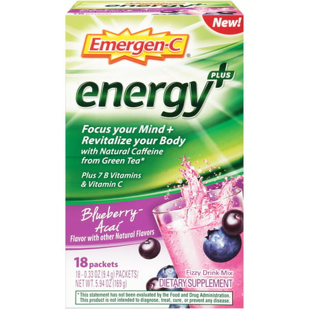 (2 pack) Emergen-C Energy+ Vitamin C Drink Mix, Blueberry-Acai, 250mg, 18 Ct B Vitamins Energy Drinks
