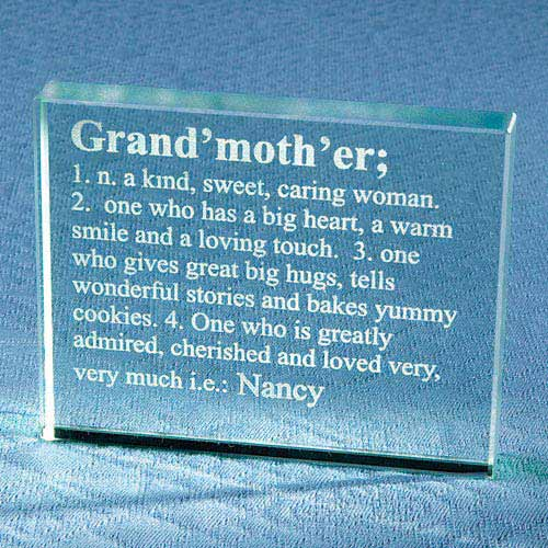 Personalized Grandmother Definition Glass Block