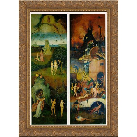 Left Wood Side Panel (Paradise and Hell, left and right panels of a triptych 19x24 Gold Ornate Wood Framed Canvas Art by Bosch,)
