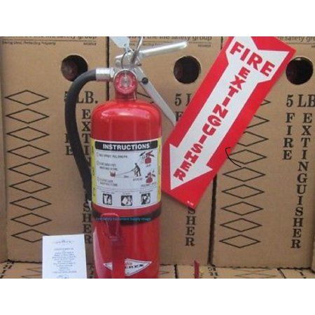 (Lot of 3) B-500 ABC Type Fire Extinguisher  W/ Wall Bracket, Arrows Signs, Certified