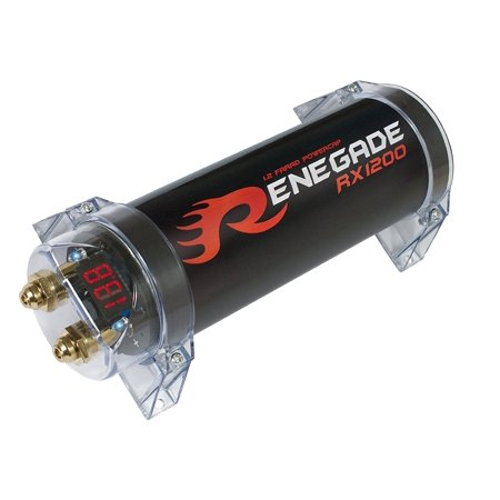Renegade RX1200 Power Capacitor 1.2 Fared Capacity with 4-Digit Voltmeter Display (Black)