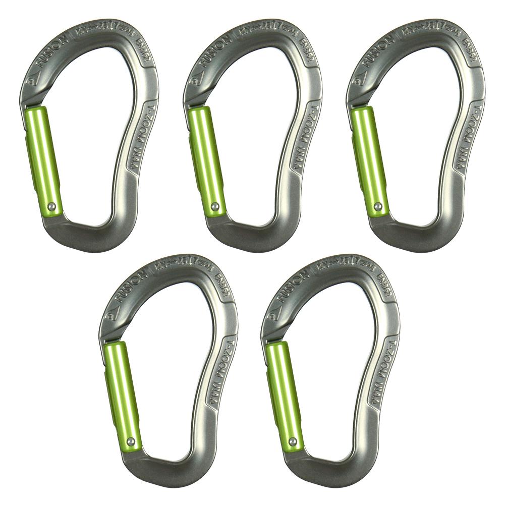 Fusion Climb Techno Zoom Aluminum Straight Gate Ergonomic CE UIAA Certified Carabiner Gray/Apple Green 5-Pack