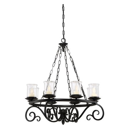 Savoy House Welch 1-1120-8-BK Outdoor Chandelier - Battery Operated Outdoor Chandelier