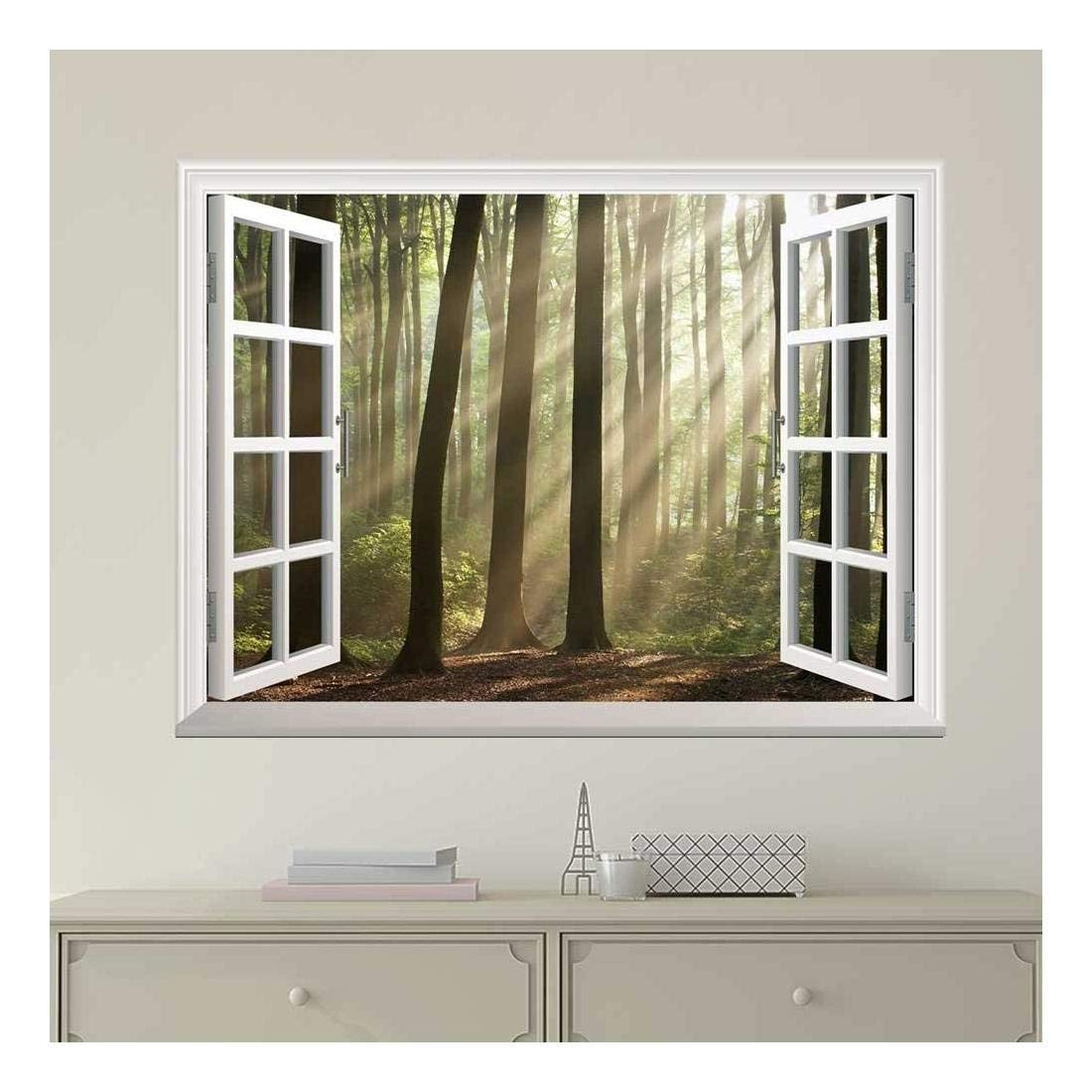 wall26 Modern White Window Looking Out Into a Foggy Forest with Rays Peeking Through - Wall Mural, Removable Sticker, Home Decor - 36x48 inches