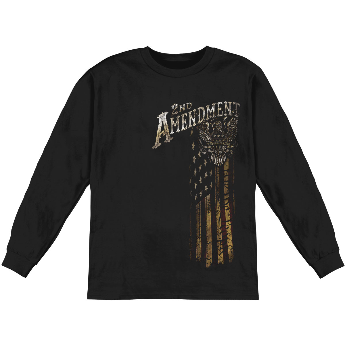 Novelty Men's  2nd Amendment Eagle Silver Foil Long Sleeve Black