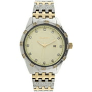 Men's Two-Tone Champagne Dial Crystal Accented Bracelet Watch
