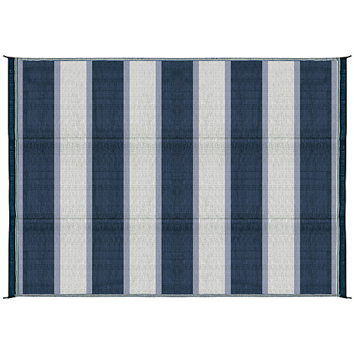 Camco 6' x 9' Reversible RV Outdoor Mat, Camping Mat, Blue Stripe