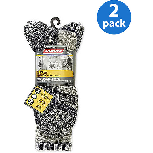 Dickies - Men's Wool Thermal Steel Toe Crew Socks, 2-Pack