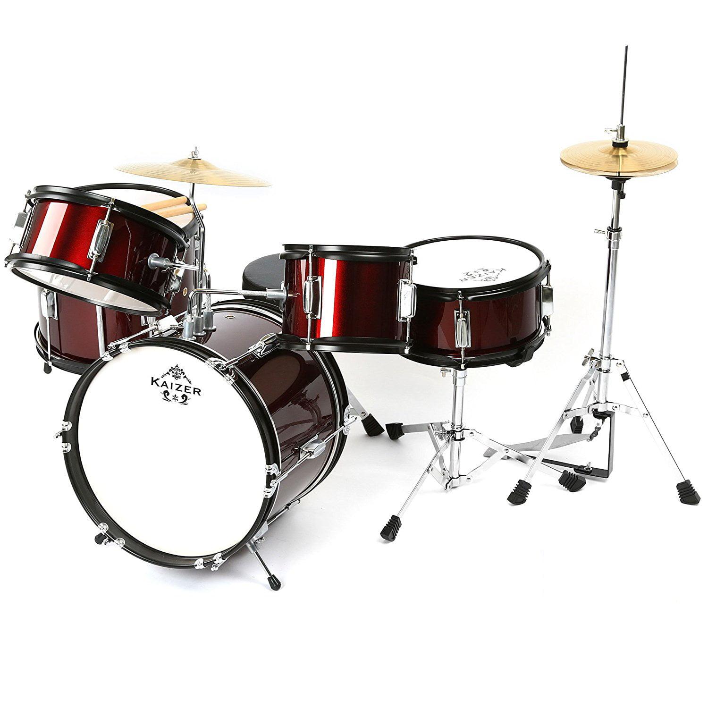 Kaizer Junior Kids Drum Set 5 pc Red Metallic JDRMS5-1000RD by Kaizer