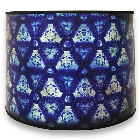 Royal Designs Modern Trendy Decorative Handmade Lamp Shade - Made in USA - Blue Kaleidoscope Design - 10 x 10 x 8