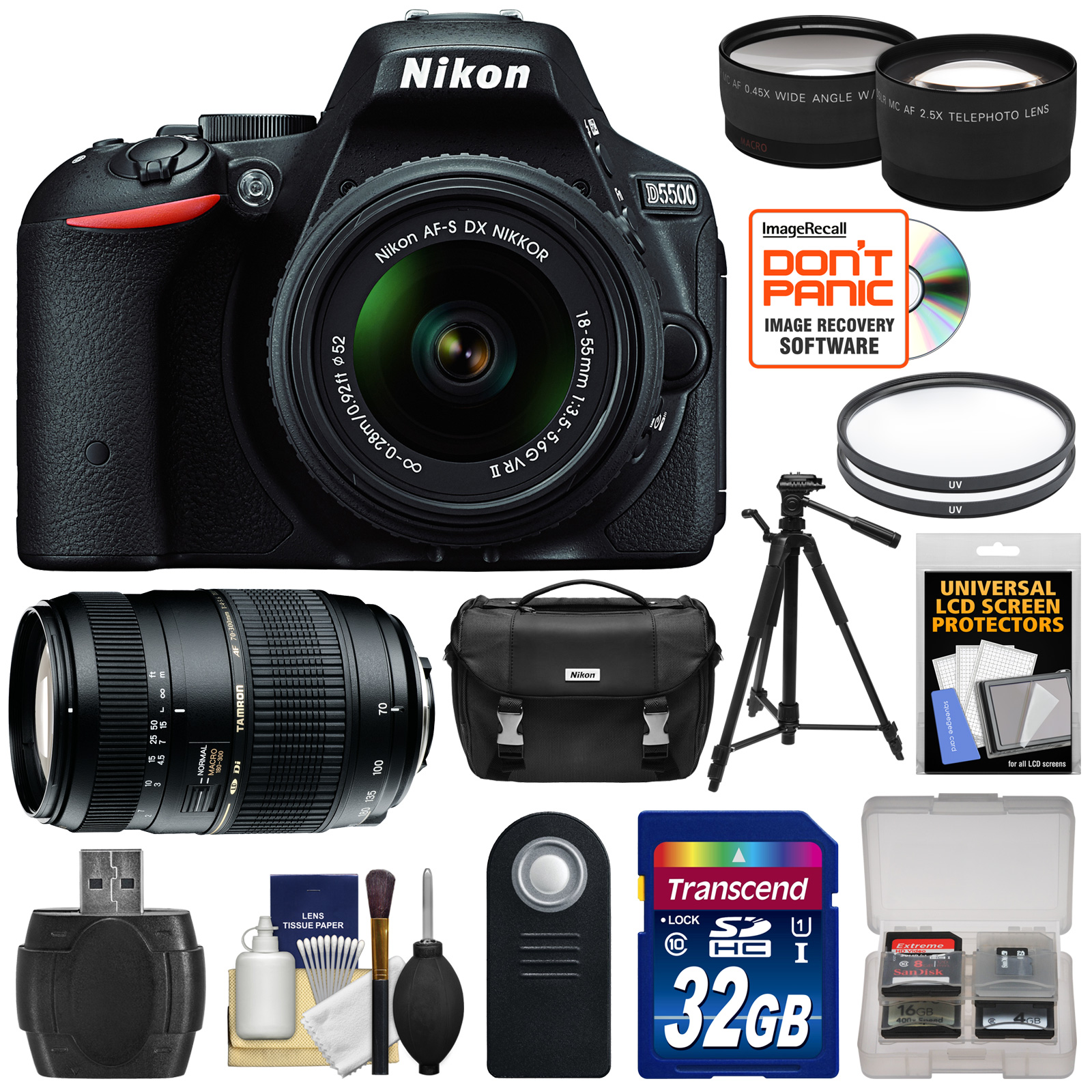 Nikon D5500 Wi-Fi Digital SLR Camera & 18-55mm VR DX Lens (Black) - Factory Refurbished with 70-300mm Zoom Lens + 32GB Card + Case + Filters + Tripod + Kit 1546B-89930-Kit