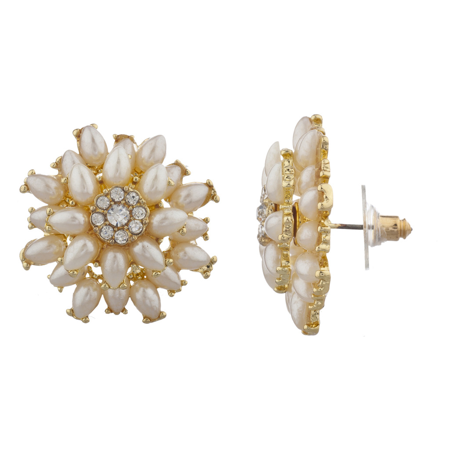 Lux Accessories Gold Tone Pearl Pave Stone Floral Flower Fashion Stud Earrings