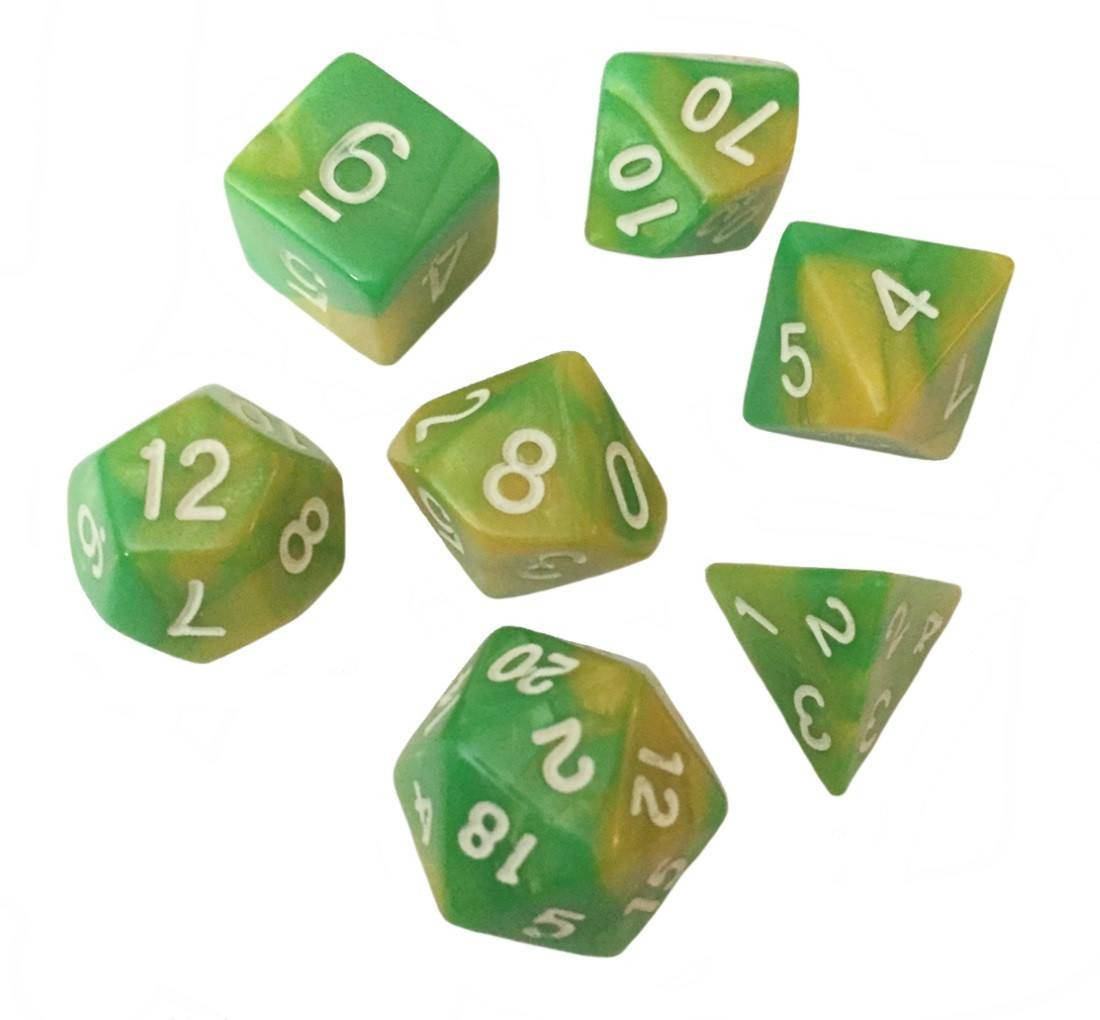 Green and Yellow Swirled Color - Pack of 7 Polyhedral Dice (7 Die in Set) | Role Playing Game Dice | D4, D6, D8, D10, D%, D12, and D20 -