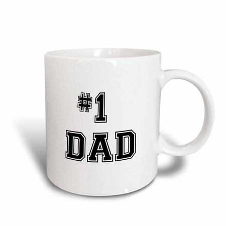 3dRose #1 Dad - Number One Greatest Dad - black text - Good for Fathers day - Best Dad Award, Ceramic Mug, 11-ounce