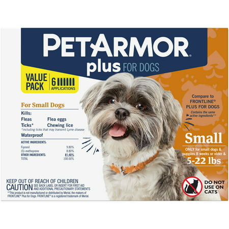 PetArmor Plus Flea & Tick Prevention for Small Dogs (4-22 lbs), 6 Treatments