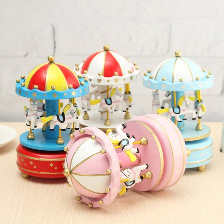 Cute Wooden Musical Carousel Horse Rotating Music Box Clockwork Mechanical Room Decor Christmas Birthday Gift