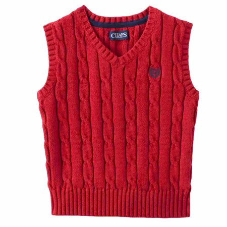 Chaps Toddler & Little Boys Red V-Neck Cable Knit Sweater Vest - Boys Sweater Vest