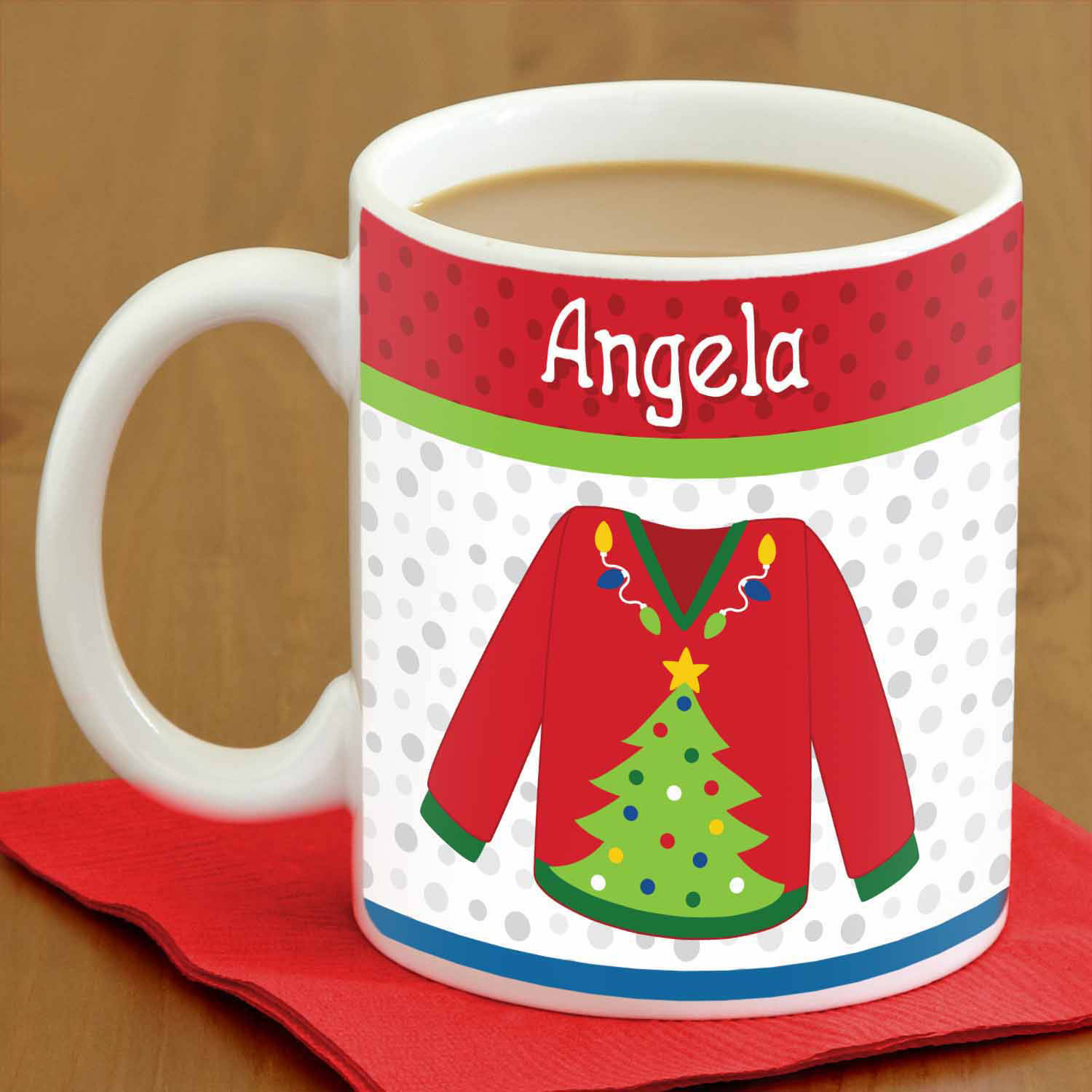 Personalized Ugly Christmas Sweater Coffee Mug, 15 oz - Christmas Tree, Availble in 6 Designs