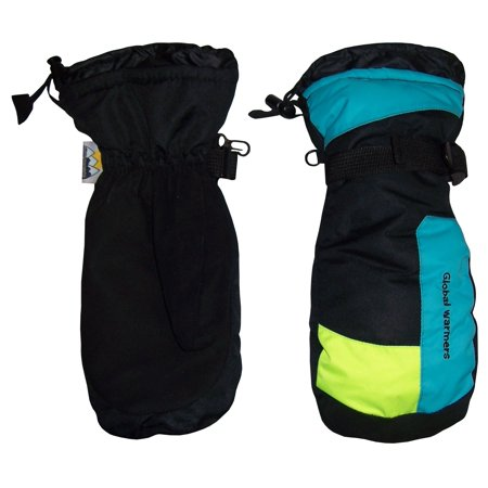 NICE CAPS Unisex Adults Solid And Colorblock Puffy Waterproof and Thinsulate Lined Insulated Ski Snow Winter Mittens - Fits Mens and Womens Ladies Sizes