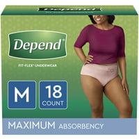 Depend Fit-Flex Incontinence Underwear for Women, Maximum Absorbency, Medium, Light Pink, 18 Count