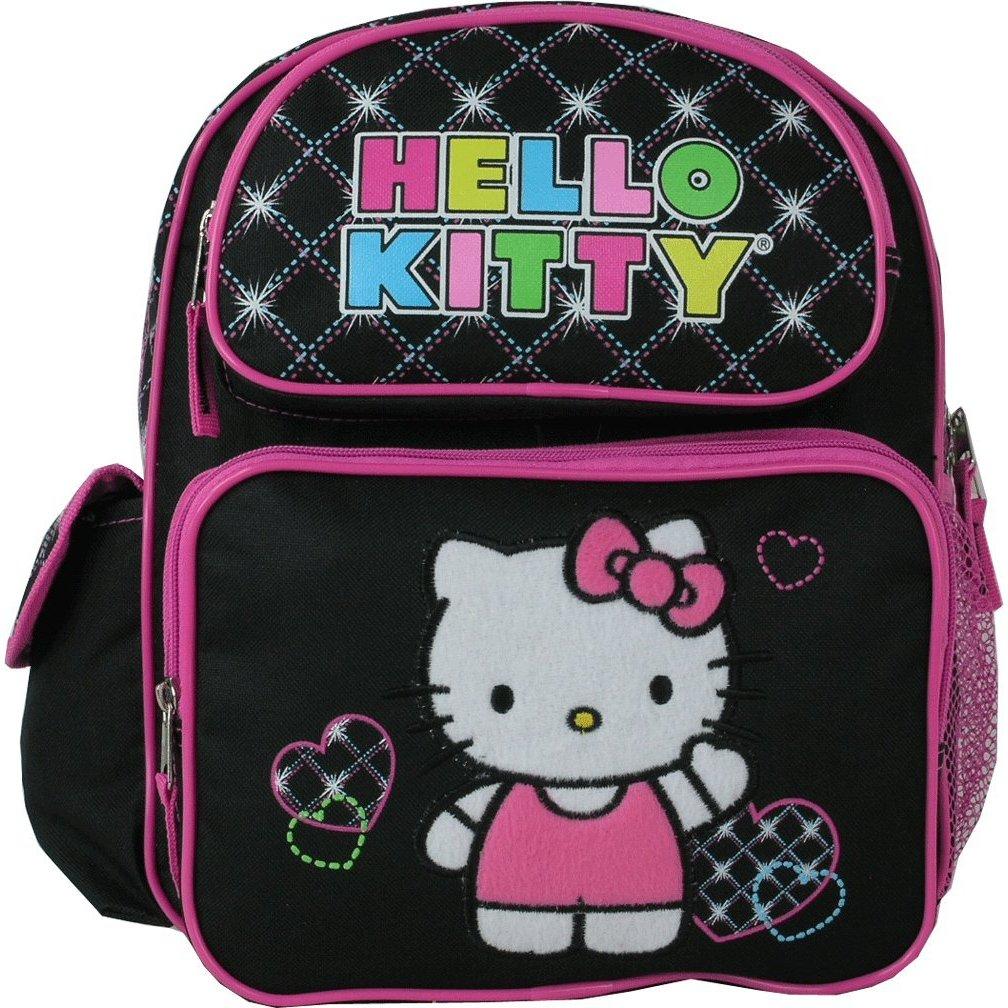 Small Backpack Sanrio Hello Kitty Hearts Black New 813526 by Ruz