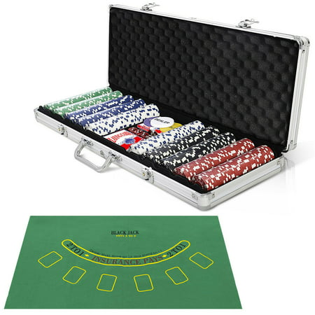 Costway New 500 Chips Poker Dice Chip Set Texas Hold'em Cards W/ Silver Aluminum