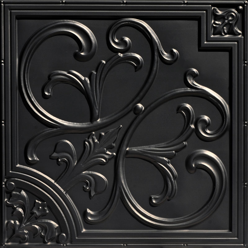 Lilies and Swirls 2 ft. x 2 ft. PVC Glue-up or Lay in Ceiling Tile - Antique Copper