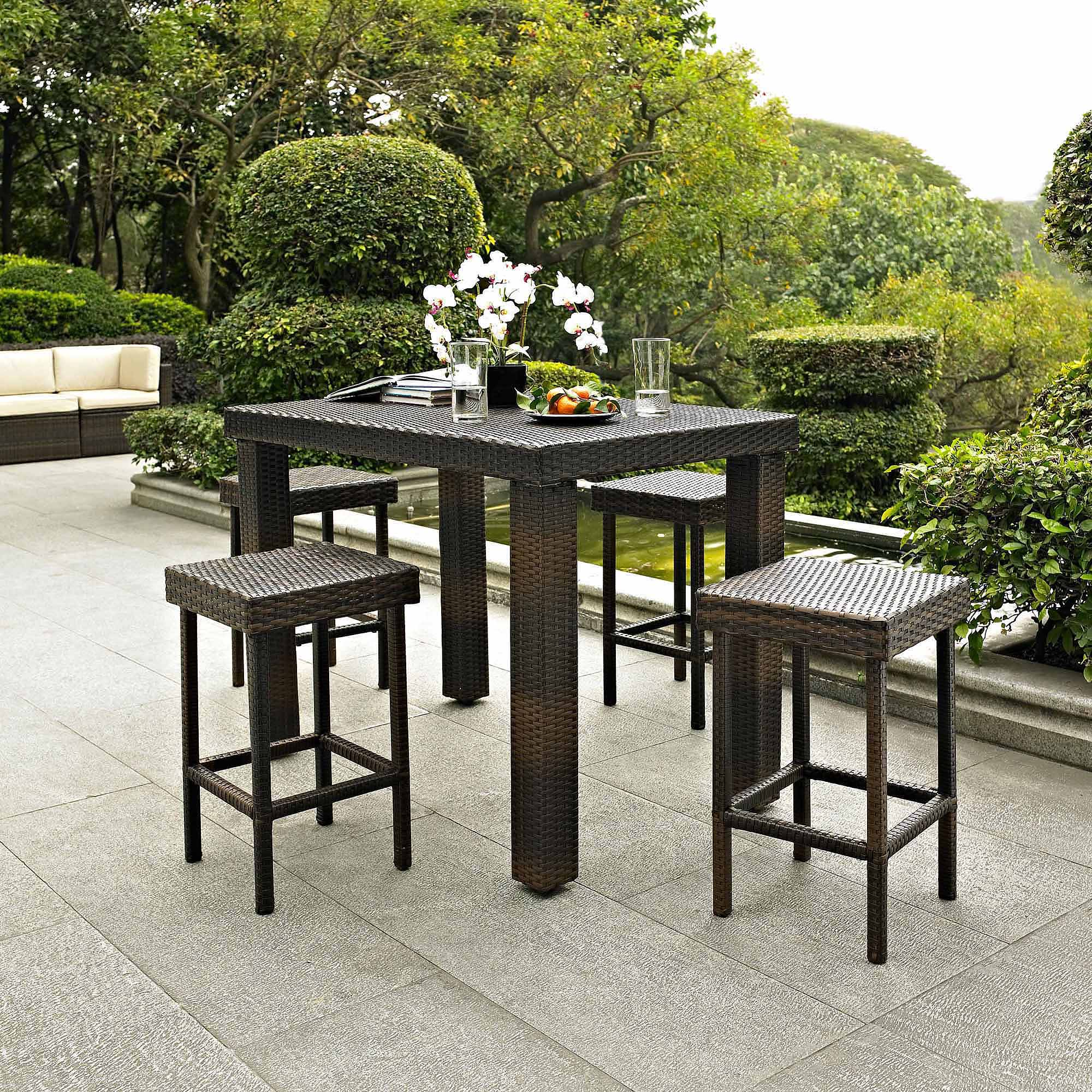 Crosley Furniture Palm Harbor 5-Piece Outdoor Wicker High Dining Set