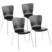 Bentwood Contemporary Stackable Dining Chair in Black Wood and Chrome by LumiSource - Set of 4