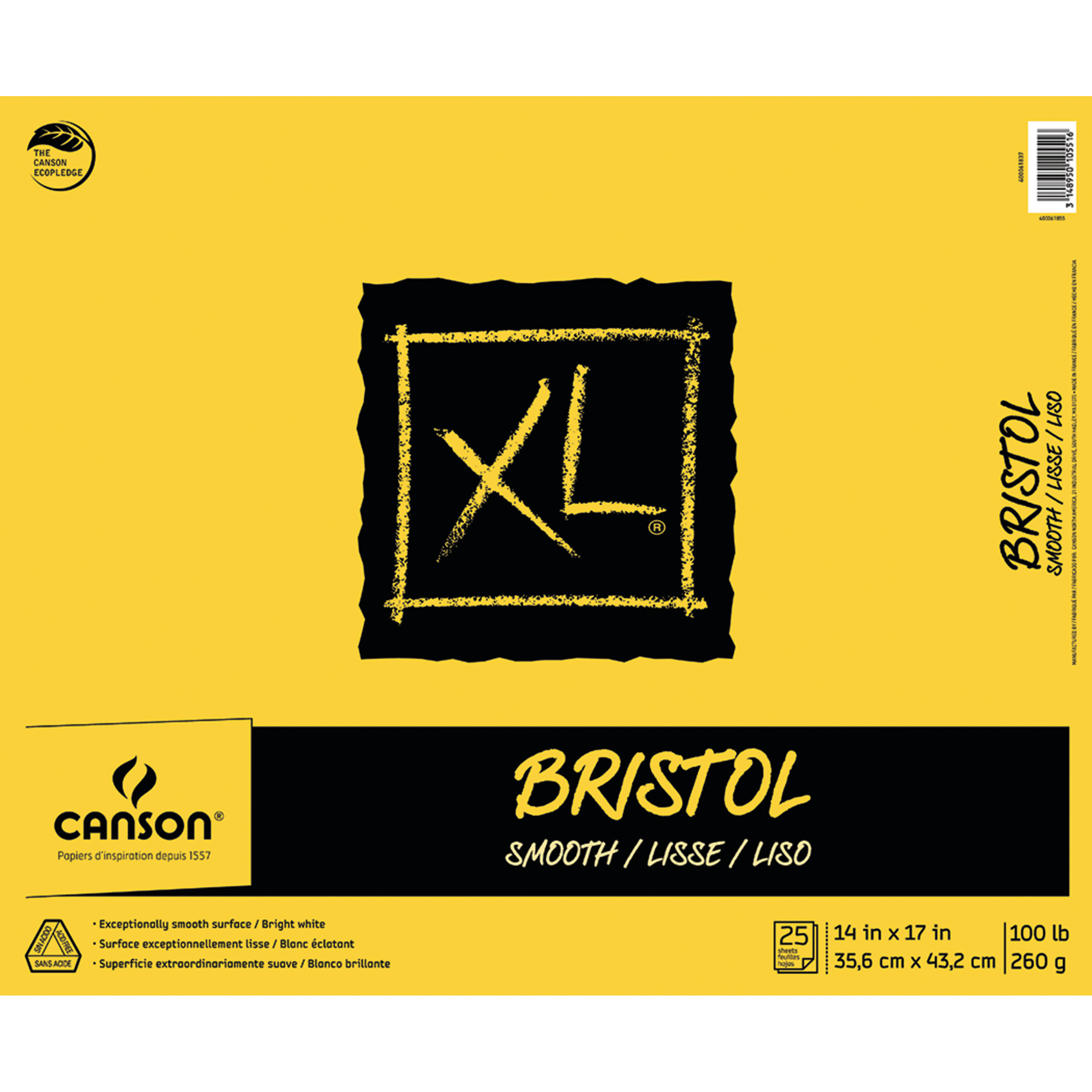 Canson XL Bristol Pad, Smooth, 14in x 17in